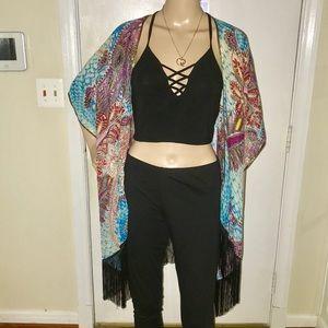 Sweaters - Black / Multi Colored / Gold Fringe Kimono